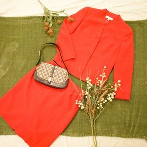 Le Suit Early 2000s Red Skirt Suit